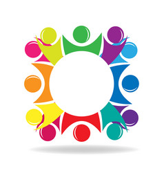 teamwork people in a circle group discussion vector image