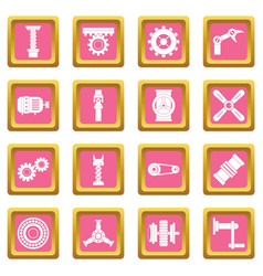 Techno mechanisms kit icons pink vector