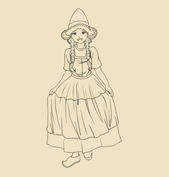 Traditional costume dutch lady vector