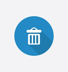 Trash bin Flat Blue Simple Icon with long shadow vector
