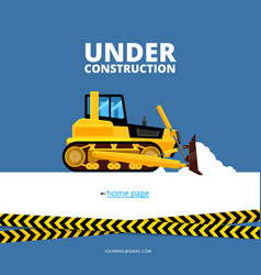 Under construction web page bulldozer and danger vector