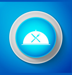 white cloche with crossed fork and knife icon vector image