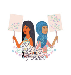 women with label girl power character vector image