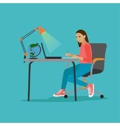 Young woman with laptop in vector image