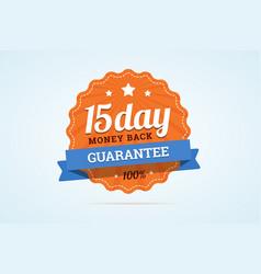 15-day money back guarantee badge vector image