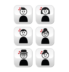 People with hearts love Valentines Day buttons vector image vector image