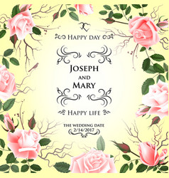 postcard with delicate flowers roses wedding vector image vector image
