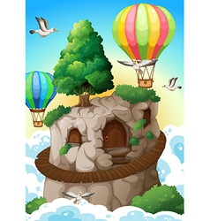 Cave and balloons vector image vector image