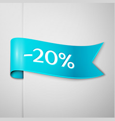 cyan ribbon with text twenty percent for discount vector image vector image