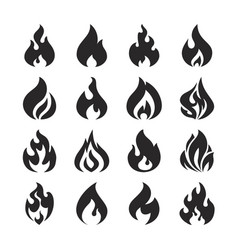 fire flame and bonfire silhouette icons set vector image vector image