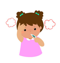 little girl got high temperature cartoon vector image vector image