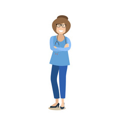 medical worker female in flat vector image