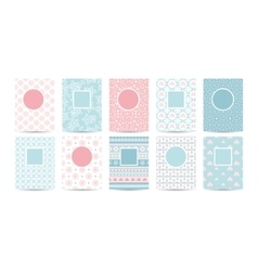 Romantic card templates with pink patterns vector image vector image