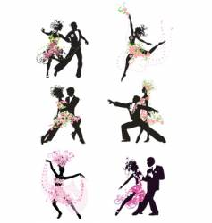 silhouette dancing people vector image