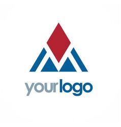 triangle pyramid shape logo vector image vector image