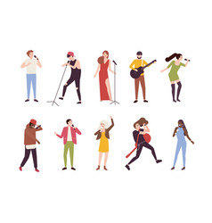 collection of singers with microphones and vector image vector image