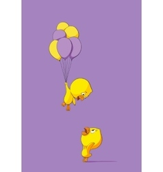 Cute chick with balloons vector image