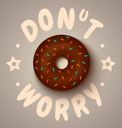 donut worry chocolate vector image vector image