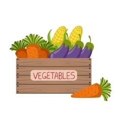 Fresh vegetables crate vector