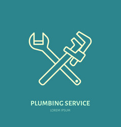 plumbing flat line icon repair service vector image