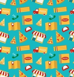 Seamless Pattern with Slices of Pizza and Colorful vector image vector image