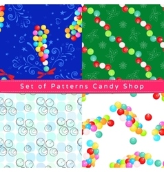 Seamless patterns with dragee vector image vector image