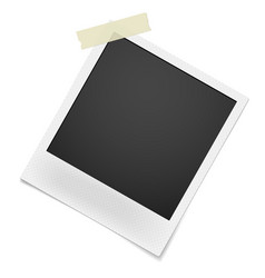 blank retro photo frame hanging on single corner vector image