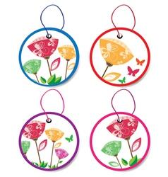 summer floral badges vector image vector image