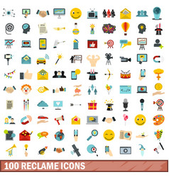 100 reclame icons set flat style vector