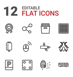 12 square icons vector image