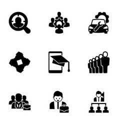 9 corporate filled icons set isolated on white vector