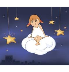 A cute little angel A girl cartoon vector image