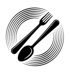 Abstract logo a cafe or restaurant a spoon vector