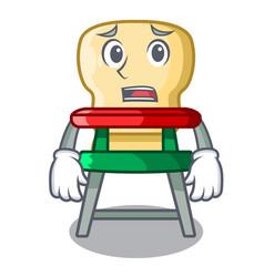 afraid cartoon baby sitting in the highchair vector image