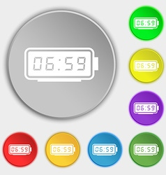 alarm clock icon sign Symbol on eight flat buttons vector image