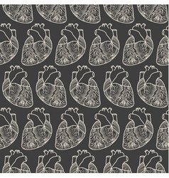 Anatomic heart seamless pattern vector