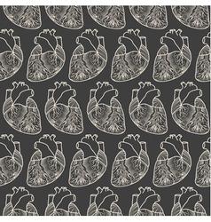 anatomic heart seamless pattern vector image
