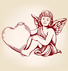 angel or cupid little baby holds a heart vector image