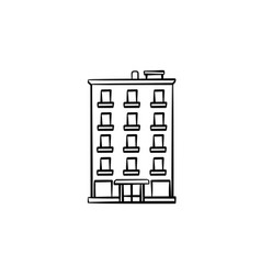 Apartment building hand drawn outline doodle icon vector