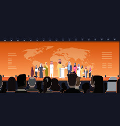 arab business people group on conference meeting vector image