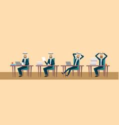 Arab sitting at office desk vector