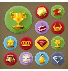 Awards and achievement long shadow icon set vector image