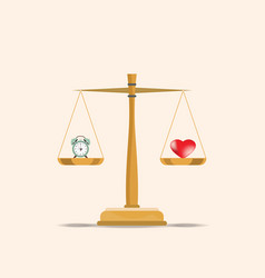 Balance heart and clock on scales vector