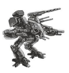 Battle robot science fiction vector
