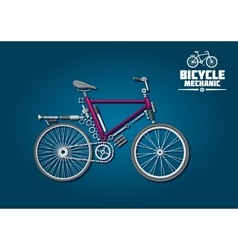 Bicycle icon with mechanical parts and accessories vector