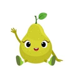 Big Eyed Cute Girly Pear Character Sitting Emoji vector