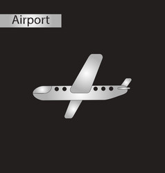 black and white style icon airplane vector image