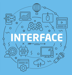 Blue line flat circle interface vector