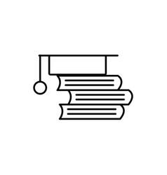 books with graduaton cap icon vector image
