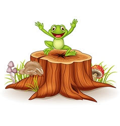 Cartoon happy frog jumping on tree stump vector